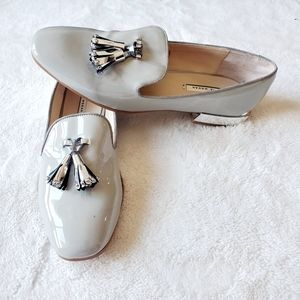 ZARA NWOT patent leather nude loafer flats